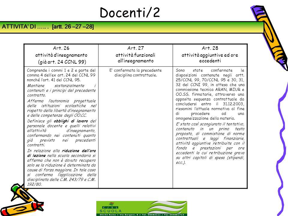 Docenti/2 ATTIVITA' DI ….. . [artt. 26 –27 –28] Art. 26